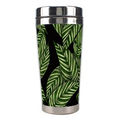 Tropical Leaves On Black Stainless Steel Travel Tumblers