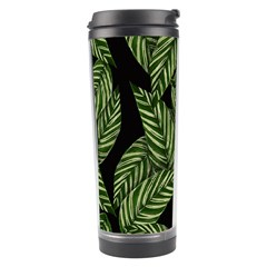 Tropical Leaves On Black Travel Tumbler