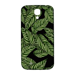Tropical Leaves On Black Samsung Galaxy S4 I9500/i9505  Hardshell Back Case