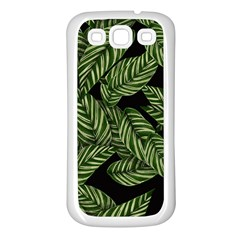 Tropical Leaves On Black Samsung Galaxy S3 Back Case (white)