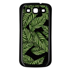 Tropical Leaves On Black Samsung Galaxy S3 Back Case (black)