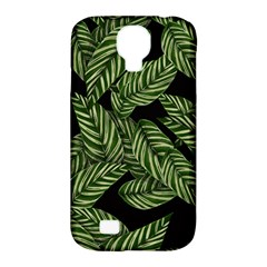 Tropical Leaves On Black Samsung Galaxy S4 Classic Hardshell Case (pc+silicone)