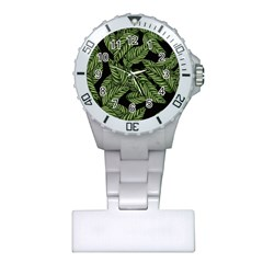 Tropical Leaves On Black Plastic Nurses Watch