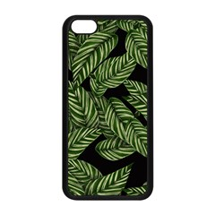 Tropical Leaves On Black Apple Iphone 5c Seamless Case (black)