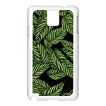 Tropical Leaves On Black Samsung Galaxy Note 3 N9005 Case (White) Front