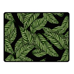 Tropical Leaves On Black Double Sided Fleece Blanket (small)