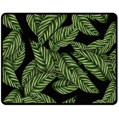 Tropical Leaves On Black Double Sided Fleece Blanket (medium)