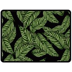 Tropical Leaves On Black Double Sided Fleece Blanket (large)  by vintage2030