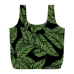 Tropical Leaves On Black Full Print Recycle Bag (l)