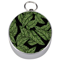 Tropical Leaves On Black Silver Compasses
