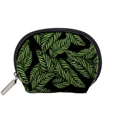 Tropical Leaves On Black Accessory Pouch (small)