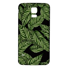 Tropical Leaves On Black Samsung Galaxy S5 Back Case (white)