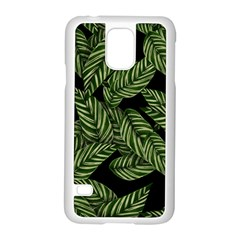 Tropical Leaves On Black Samsung Galaxy S5 Case (white)