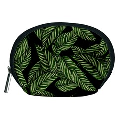 Tropical Leaves On Black Accessory Pouch (medium)