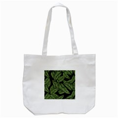 Tropical Leaves On Black Tote Bag (white)