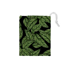 Tropical Leaves On Black Drawstring Pouch (small)