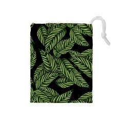 Tropical Leaves On Black Drawstring Pouch (medium)