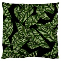 Tropical Leaves On Black Large Flano Cushion Case (two Sides)