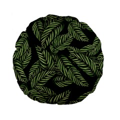 Tropical Leaves On Black Standard 15  Premium Flano Round Cushions