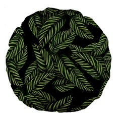 Tropical Leaves On Black Large 18  Premium Flano Round Cushions