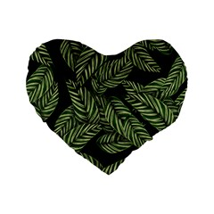 Tropical Leaves On Black Standard 16  Premium Flano Heart Shape Cushions