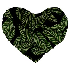 Tropical Leaves On Black Large 19  Premium Flano Heart Shape Cushions by vintage2030