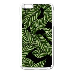Tropical Leaves On Black Apple Iphone 6 Plus/6s Plus Enamel White Case
