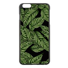 Tropical Leaves On Black Apple Iphone 6 Plus/6s Plus Black Enamel Case