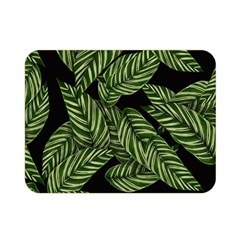 Tropical Leaves On Black Double Sided Flano Blanket (mini)