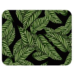 Tropical Leaves On Black Double Sided Flano Blanket (medium)