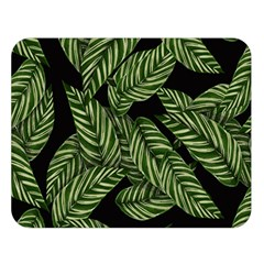 Tropical Leaves On Black Double Sided Flano Blanket (large)