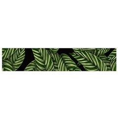 Tropical Leaves On Black Small Flano Scarf