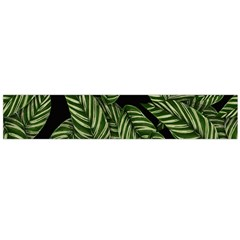 Tropical Leaves On Black Large Flano Scarf