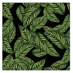 Tropical Leaves On Black Large Satin Scarf (square)