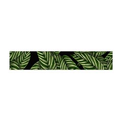 Tropical Leaves On Black Flano Scarf (mini)