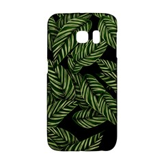 Tropical Leaves On Black Samsung Galaxy S6 Edge Hardshell Case
