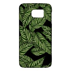 Tropical Leaves On Black Samsung Galaxy S6 Hardshell Case