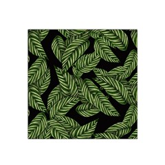 Tropical Leaves On Black Satin Bandana Scarf