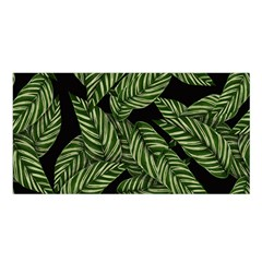 Tropical Leaves On Black Satin Shawl