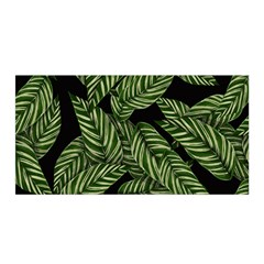 Tropical Leaves On Black Satin Wrap