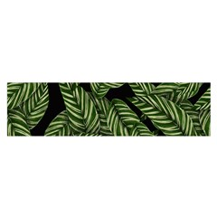 Tropical Leaves On Black Satin Scarf (oblong)