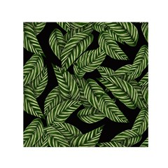 Tropical Leaves On Black Small Satin Scarf (square)