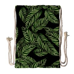 Tropical Leaves On Black Drawstring Bag (large)