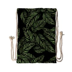 Tropical Leaves On Black Drawstring Bag (small)
