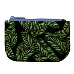 Tropical Leaves On Black Large Coin Purse