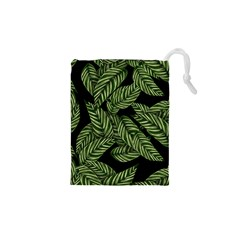 Tropical Leaves On Black Drawstring Pouch (xs)
