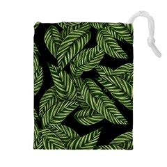 Tropical Leaves On Black Drawstring Pouch (xl)