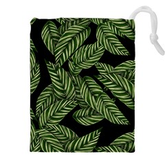 Tropical Leaves On Black Drawstring Pouch (xxl)