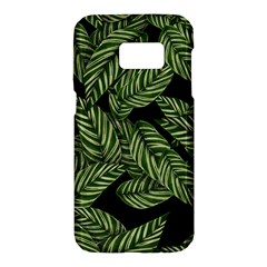 Tropical Leaves On Black Samsung Galaxy S7 Hardshell Case