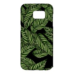 Tropical Leaves On Black Samsung Galaxy S7 Edge Hardshell Case